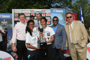 Tony Velaidum (second from right), Canadian Tire Vice President Operational Finance, and CIBC General Manager Keith Adamson (far right) joining Mayor John Tory  at the Mayor's School Cricket GTA Finals prize distribution.