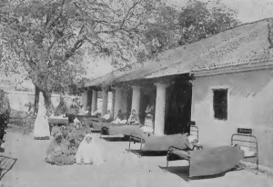 Hospital patients moved out into the warm sunshine, Neemuch.