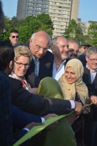 At the crowded official ribbon-cutting ceremony, with Premier Kathleen Wynne.